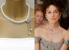 Anna Karenina -  Keira Knightleys Inspired Pearl And  Diamond Bow Necklace Perfect for Bride, Wedding , Bridesmaids And Formal. $129.00, via Etsy.