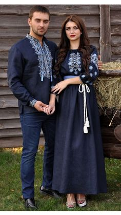 Men's embroidered shirt and Embroidered dress Modest Fashion Hijab, Women's Fashion Dresses, Casual Dresses, Mode Russe, Afghani Clothes, Cute Couple Shirts, African Wedding Dress, Wedding Dresses, Ukrainian Dress