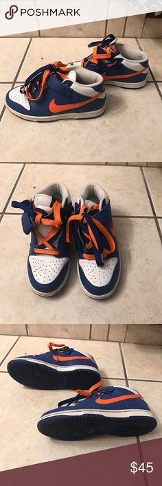 Nike sneakers size 4Y Orange and royal blue Nike dunk mid. Size 4Y Nike Shoes Sneakers