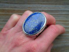 Large Lapis Ring Lapis Bold Gemstone Ring Dark by MeSheDesignsLLC, $189.00