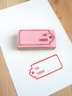 Christmas theme handcarved rubber stamp: To & From gift tag. $10.00, via Etsy.