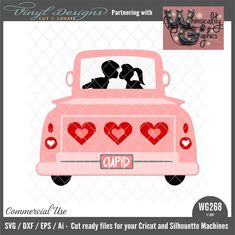 WG268 Antique Truck Valentines Commercial Use SVG, DXF, EPS & Ai file for Cricut Design Space, Silhouette Studio Basic, Designer & Business editions.