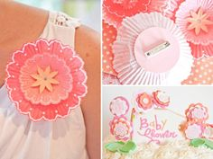 pink flower baby shower cupcake liner pins