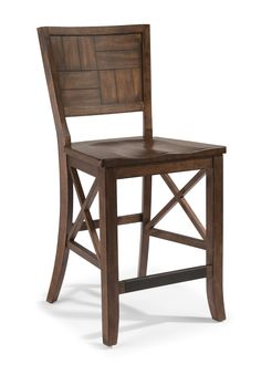 The Carpenter counter chair features industrial construction inspired by vintage workbench design.
