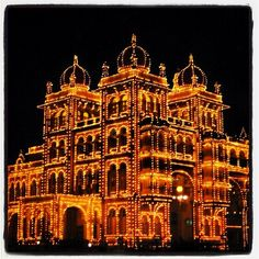 The palace at night in Mysore, India. Reminds me of a light bright.
