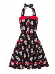 "Women's ""Day of the Dead"" Skulls Halter Dress by Jawbreaker"