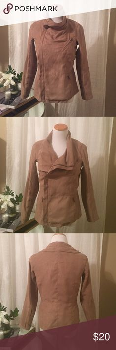 Tan suede fashion jacket I love this jacket zipped all the way up or halfway! It's a faux suede and a nice lightweight jacket. Size medium and a tan/camel shade. Jackets & Coats