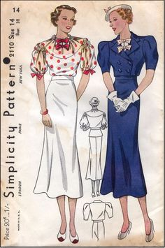 Simplicity #2110 - 1930 Ladies Day Ensemble Sewing Pattern ~ SO Cute! The tops of the blouse sleeves could be smocked ~ cute bolero jacket ~