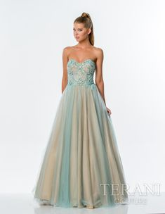 Terani Prom Strapless tulle ball gown with sweetheart neckline and full  tulle skirt 5998ea10071a