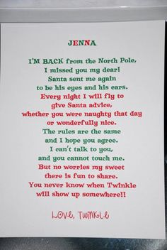 """Elf on the shelf """"im back"""" letter..PERFECT FOR OUR WELCOME BACK DINNER : )"""