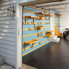 With this storage system, you can organize your garage in minutes using versatile French cleats. And this system can hold just about anything. Plus, you can quickly move hooks, shelves and bins around to find the most efficient arrangement as your needs change. The entire system is inexpensive and easy to build; you only need two power tools—a circular saw and a drill. Complete how-to instructions can be found here.