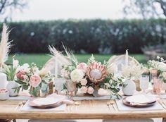 Wedding Tablescape, Wedding Inspo, Romantic Wedding, Pampas Grass, King Protea - By: LadyLibertyEvents.com #modernwhimsicalweddingshoot