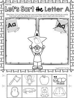 ALPHABET PRINTABLES! Let's Learn The Letter A. Easy to use-NO PREP- Kindergarten/Pre-kindergarten printables. FREEBIE