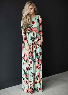 Mint rose dress