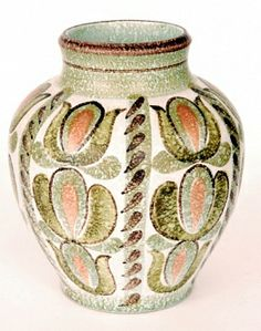 A Denby Pottery vase designed by Glyn Colledge of shouldered ovoid form with collar neck hand painted with panels of stylised flowers and foliage, impressed mark, height 23 cm. Pottery Vase, Ceramic Pottery, Earthenware, Stoneware, Denby Pottery, Day Use, Utensils, England, Hand Painted