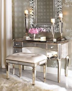 Claudia Mirrored Vanity and Vanity Seat at Horchow.