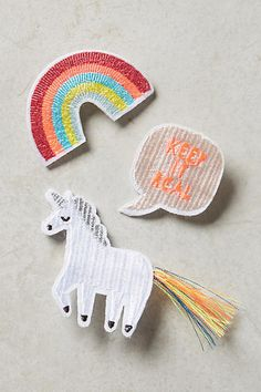 Anthropologie Comic Book Embroidered Brooches
