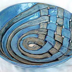 handmade ceramic pottery lattice blue bowl