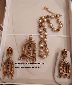 Presenting fully hand crafted Radha Krishna Locket with ear rings and Finest quality south sea pearls chain. Visit for best pcs ready selection or made to order. Contact no 8125 782 09 May 2019 Gold Temple Jewellery, Gold Jewellery Design, Gold Jewelry, Beaded Jewelry, Gold Necklace, Antique Jewellery, Handmade Jewellery, Pendant Jewelry, Gold Pendent