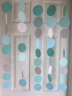"This might be a good way to tie in mixed shades of ""tiffany blue""... Tiffany Blue, TIffany Blue Wedding, Paper Garland, Tiffany Baby Shower, Tiffany Bridal Shower, Tiffany themed shower, Shower Decorations. $22.00, via Etsy."
