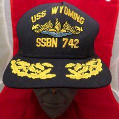Vintage USS Wyoming SSBN 742 NAVY Submarine Vetarans Snapback Cap Hat