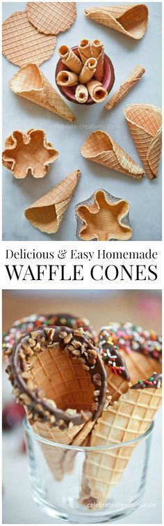 Delicious Homemade Waffle Cones and Bowls are easy to make and so much better than store-bought. So fun! Köstliche Desserts, Frozen Desserts, Frozen Treats, Delicious Desserts, Dessert Recipes, Yummy Food, Ice Cream Recipes, Ice Cream Desserts, Yummy Treats
