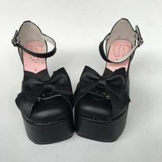 Sweet High Platform Leather Lolita Shoes Sandals