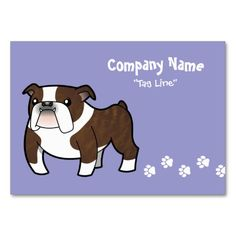 Cartoon Bulldog (brindle pied) Business Cards