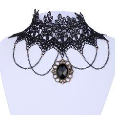 Lotita Goth Black Lace Collar Choker Chain Tassel Copper Style Pendant Necklace | eBay