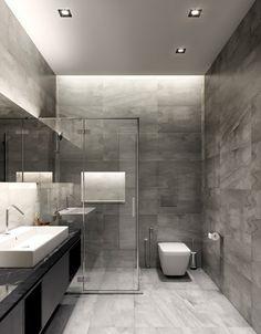 losas grices en el baño moderno