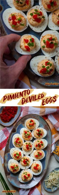 These Pimiento Deviled Eggs are the perfect make-ahead deviled egg dish for any gathering, made with homemade pimiento cheese. Spicy Recipes, Egg Recipes, Side Dish Recipes, Yummy Appetizers, Appetizer Recipes, Palmetto Cheese, Pimiento Cheese, Cheese Stuffed Peppers, Mexican Breakfast Recipes