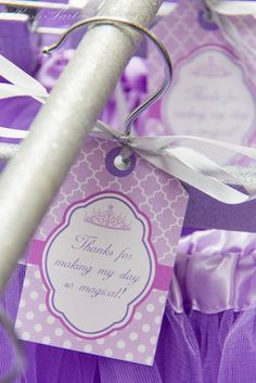 Instant Download DIY  Purple Princess Birthday Party  PRINTABLE Hanging Thank You Tags crown lavender purple on Etsy, $4.00