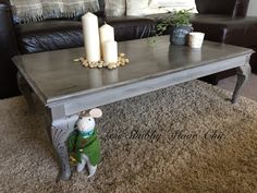Shabby Chic Coffee Table Annie Sloan French Linen and finished with Clear and Black Wax