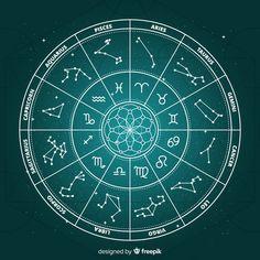 Flat zodiac wheel on galaxy background Free Vector | Premium Vector #Freepik #vector #background #calendar #star #circle
