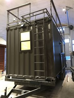 This is the new Vista C Shipping Container Tiny House from ESCAPE. It's built using a standard ISO shipping container so it can be shipped anywhere or it can be attached to a special tra… Container Home Designs, Container Shop, Cargo Container, 20ft Container, Container Architecture, Container Buildings, Sustainable Architecture, Contemporary Architecture, Building A Container Home
