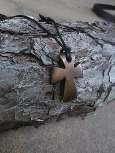 Wooden Cross Necklace Pendant Wood Jewelry by WhiteCrossMinistries