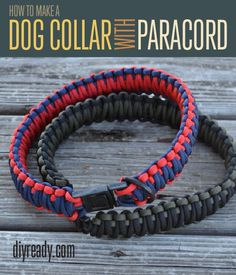 """Make sure your pup has the most style on the block!!  Try making one of these awesome """"Paracord Dog Collars."""" (via DIYReady.com)  http://diyready.com/how-to-make-a-paracord-dog-collar-instructions/  #paracord   #tying   #knotting   #crafting   #design   #diy   #howto   #craft   #collar   #dog   #tutorial"""