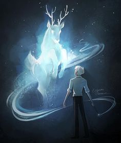 Ive been reading drarry fics again and I must say my favorite trope is harry teaching post war Draco the patronus charm and when it works its a freakin stag and theyre both like pikachu gasp #drarry #dracomalfoy #harrypotter #patronus #digitalart #illustration