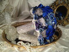 Deposit on Keepsake Rhinestone Brooch Royal Blue Bouquet - 6-8 inch Wedding Bridal Bouquet with Rhinestone Handle, Quinceanera