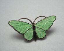 Green Guilloche Enamel Butterfly Pin
