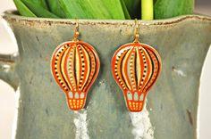 Air balloon earrings Aerostat earrings Polymer by ElfinElephant