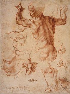 Michelangelo Buonarroti - Estudo para a Capela Sistina. Giz s/papel, 1511