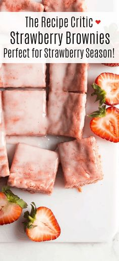 When you need a dessert that's easy but also loaded with fresh summer flavor, these Strawberry Brownies are the one! Just a few minutes prep and REAL strawberry flavor! Homemade Strawberry Cake, Strawberry Brownies, Fresh Strawberry Pie, Strawberry Recipes, Strawberry Glaze, Strawberry Pretzel, Strawberry Shortcake, Strawberry Bread, Just Desserts