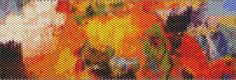 Orange Abstract Peyote Cuff Beaded Bracelet Pattern by Karen Zumbrun