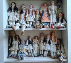 16 Antique Greek Handmade Ethnic Dolls,Evzones,(1930-1957).NO RESERVE