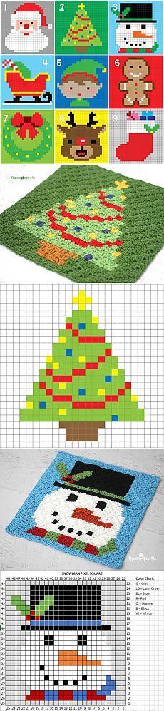Вязаный новогодний плед из квадратов с новогодними сюжетами
