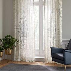 Distressed Medallion Curtain, Dusty Blue, 48