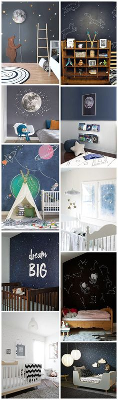 Space Inspired Bedrooms and nurseries For Children| Cosmic Decor | Space | Stars | Planets | Nursery Decor | Children's Rooms | Bear and Moon Light | Wall stickers | Wall Decor | Twinkle Twinkle