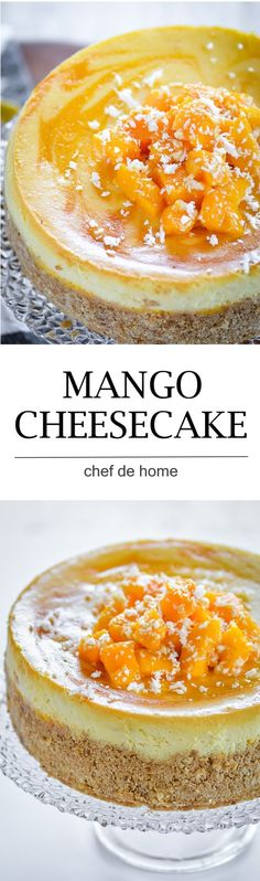 moist and rich easy mango cheesecake with fresh mangoes and sour cream and baking technique to bake extra lite cake Baking Recipes, Cake Recipes, Dessert Recipes, Great Desserts, Delicious Desserts, Mango Cheesecake, Baking Soda And Lemon, Mango Cake, Cake Toppings
