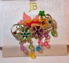 $25 NIB JB Lovely Flower Butterfly Colorful Enamel Rhinestone Crystal Brooch 7h 67